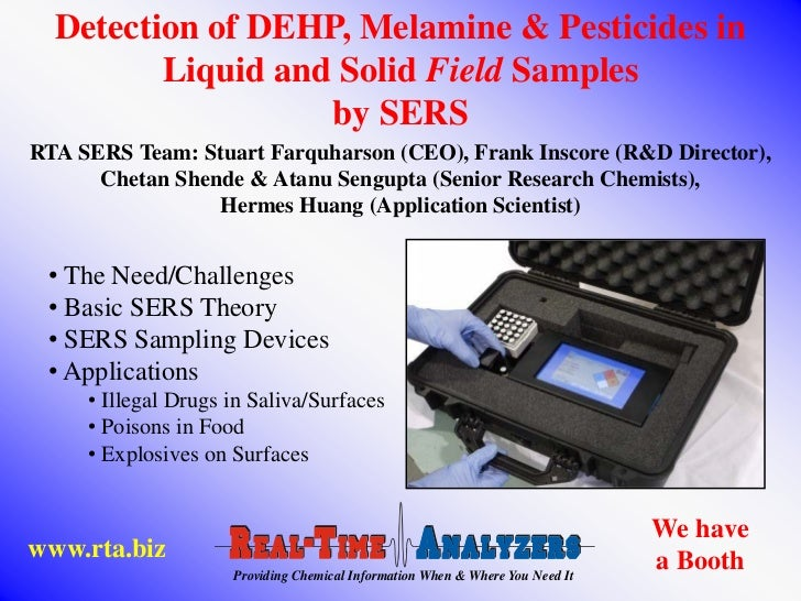 Detection of DEHP, Melamine & Pesticides in         Liquid and Solid Field Samples                   by SERSRTA SERS Team:...
