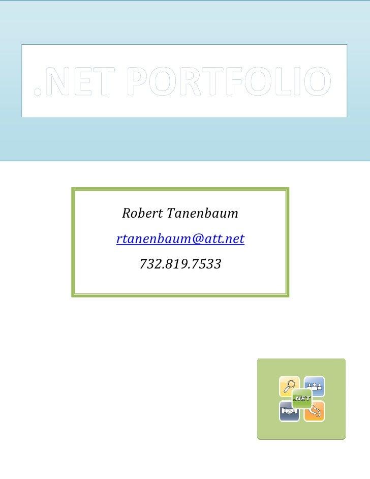 Robert Tanenbaum rtanenbaum@att.net    732.819.7533