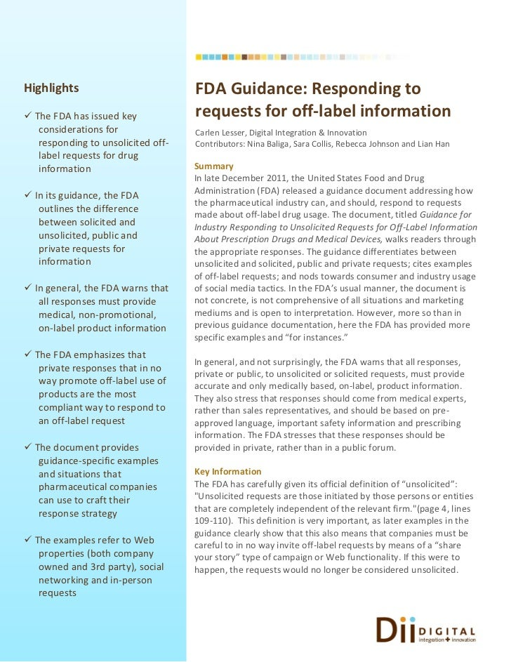 Highlights                          FDA Guidance: Responding to The FDA has issued key            requests for off-label ...