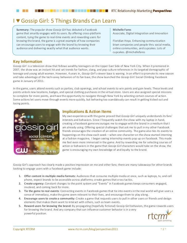 Social Media Strategies from Gossip Girl's Facebook Game (February 2011)