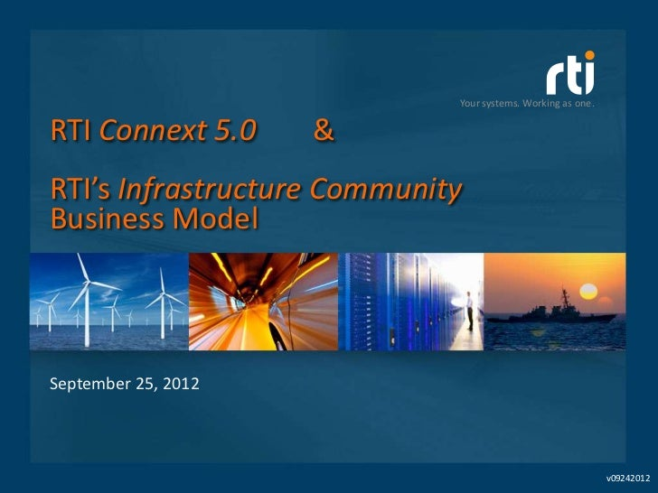 Your systems. Working as one.RTI Connext 5.0      &RTI's Infrastructure CommunityBusiness ModelSeptember 25, 2012         ...