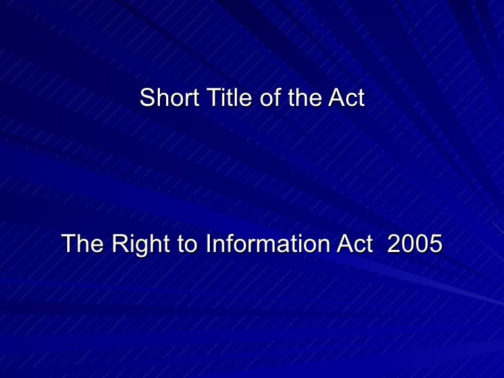Rti act  over view