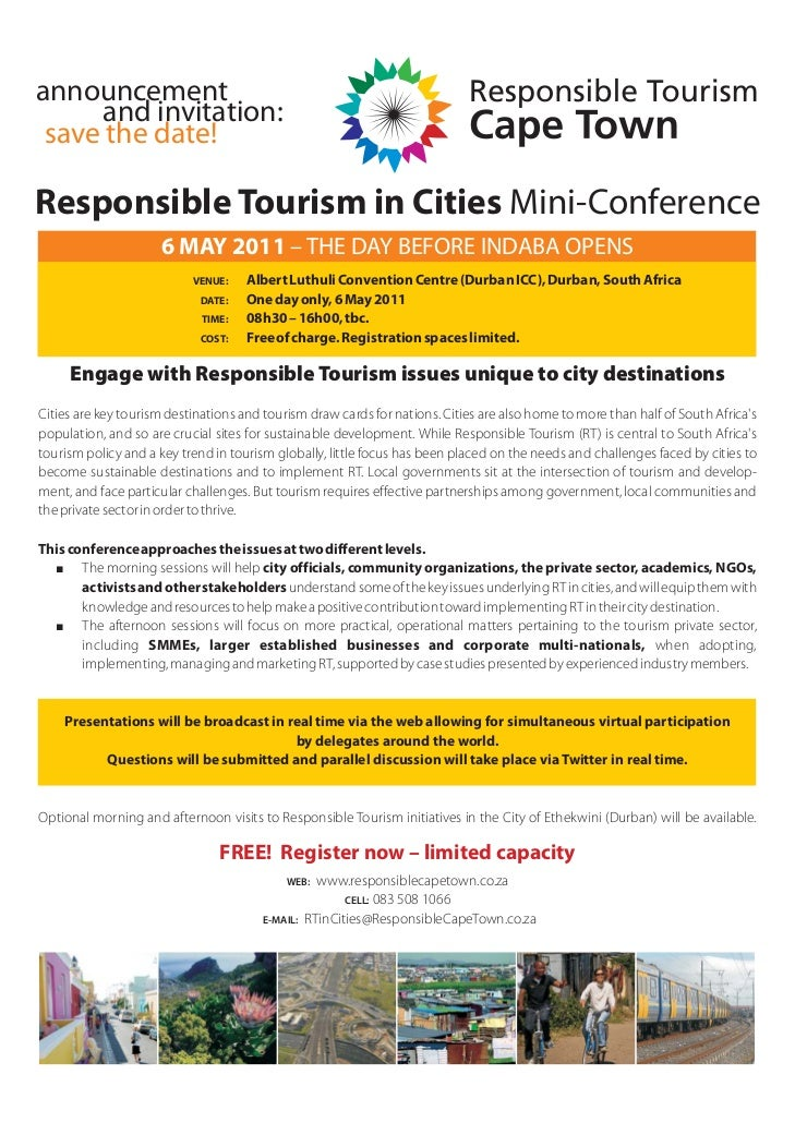 announcement      and invitation: save the date!Responsible Tourism in Cities Mini-Conference                     6 MAY 20...