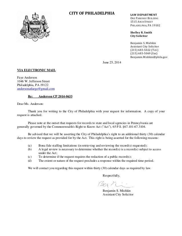 Response to RTK Request - Philadelphia Industrial Development Corporation