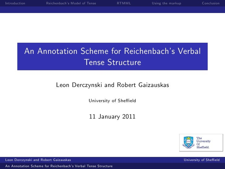 Introduction           Reichenbach's Model of Tense             RTMML   Using the markup             Conclusion           ...
