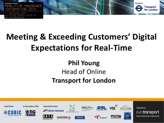 Meeting & Exceeding Customers' Digital Expectations for Real-Time Phil Young Head of Online Transport for London