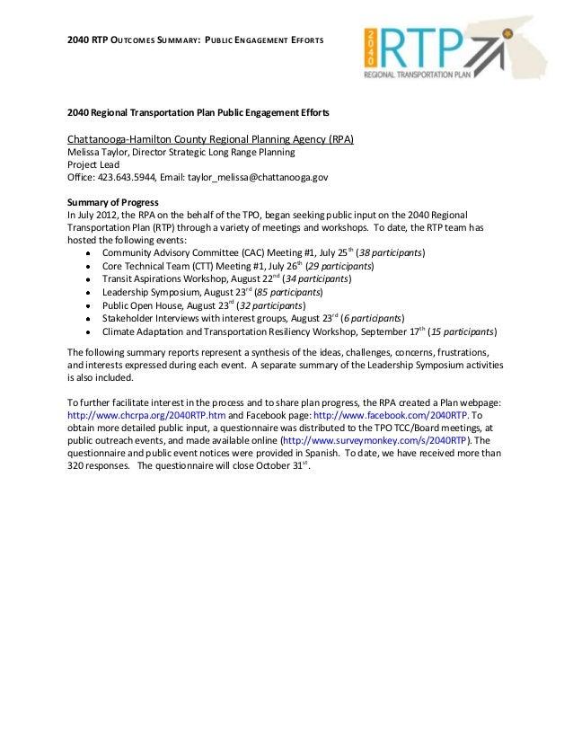 2040 RTP Outcomes Summary