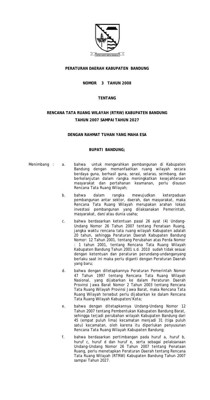 PERATURAN DAERAH KABUPATEN BANDUNG                          NOMOR     3 TAHUN 2008                                  TENTAN...