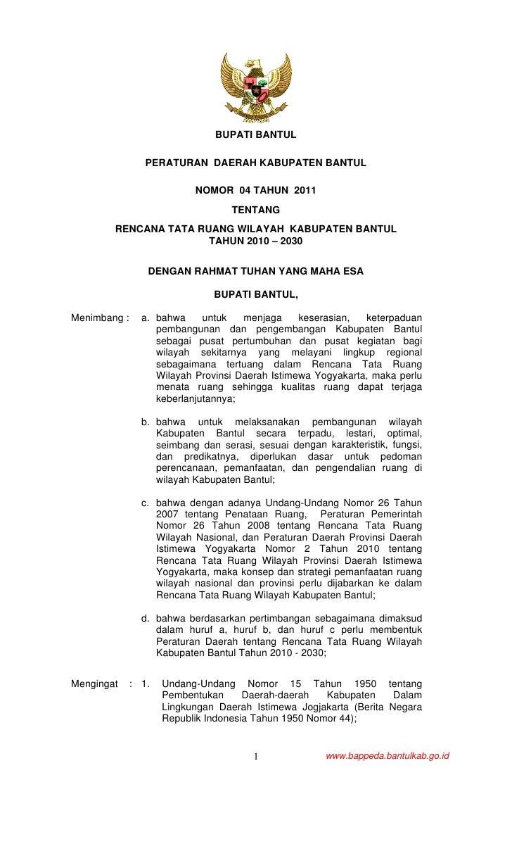 BUPATI BANTUL                 PERATURAN DAERAH KABUPATEN BANTUL                           NOMOR 04 TAHUN 2011             ...