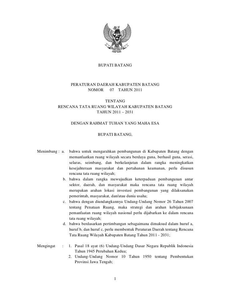 Rencana Tata Ruang Wilayah Kabupaten Batang