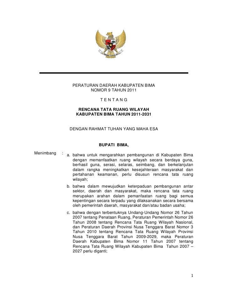 PERATURAN DAERAH KABUPATEN BIMA                        NOMOR 9 TAHUN 2011                              TENTANG            ...