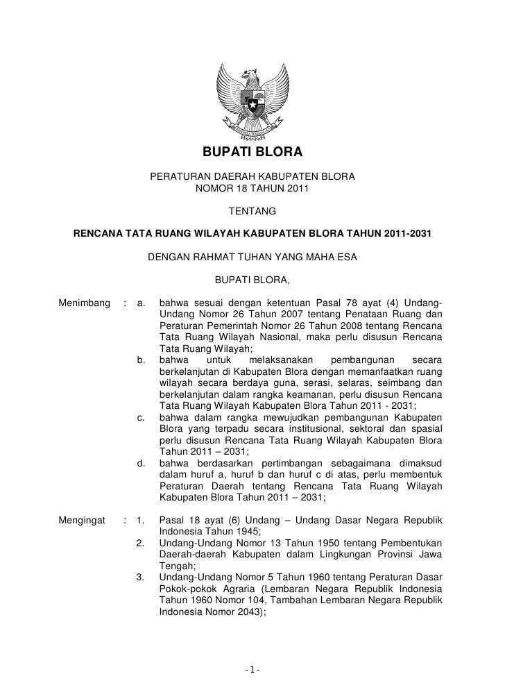 Rencana Tata Ruang Wilayah Kabupaten Blora