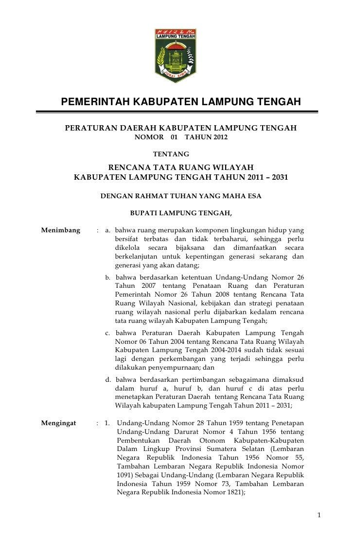 PEMERINTAH KABUPATEN LAMPUNG TENGAH      PERATURAN DAERAH KABUPATEN LAMPUNG TENGAH                        NOMOR 01       T...