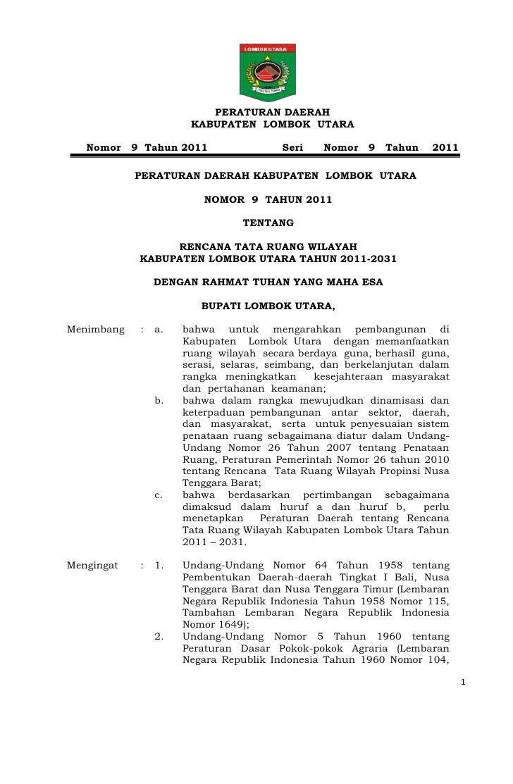 PERATURAN DAERAH                       KABUPATEN LOMBOK UTARA   Nomor    9 Tahun 2011                 Seri   Nomor    9   ...