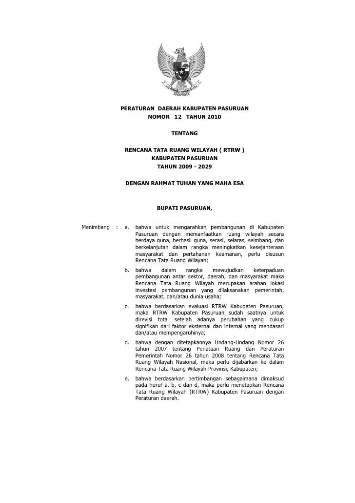 PERATURAN DAERAH KABUPATEN PASURUAN                       NOMOR 12 TAHUN 2010                                    TENTANG  ...