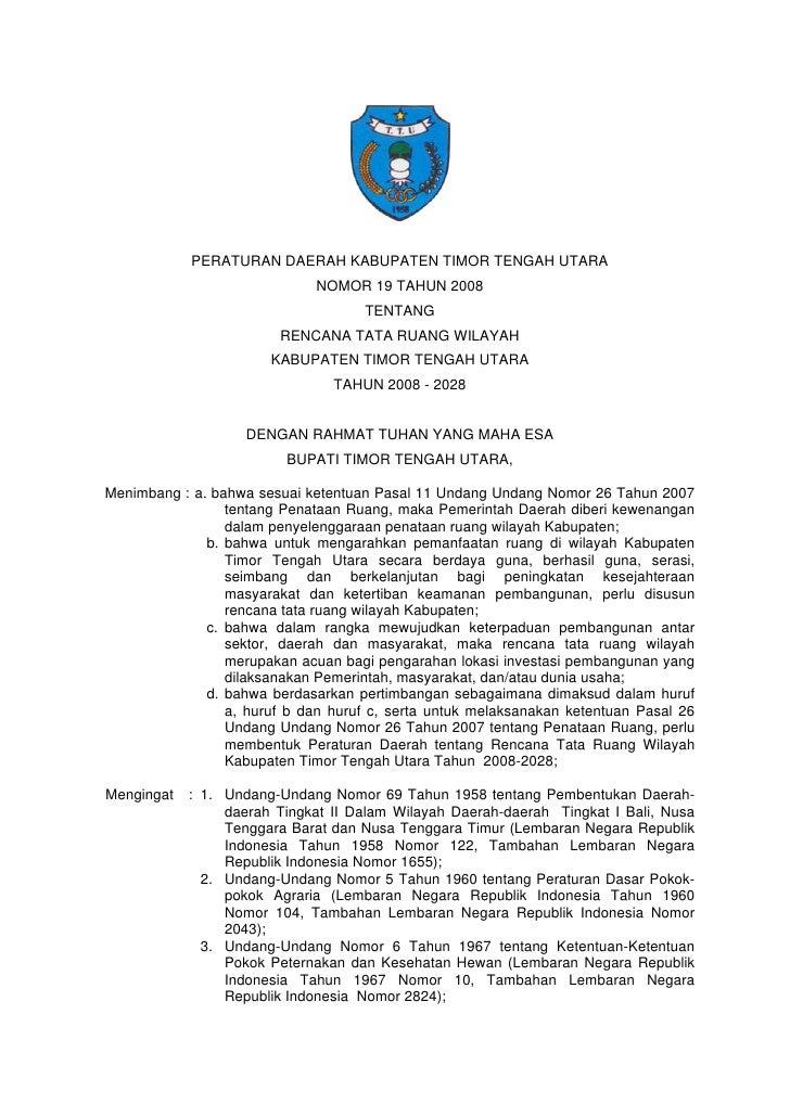 PERATURAN DAERAH KABUPATEN TIMOR TENGAH UTARA                              NOMOR 19 TAHUN 2008                            ...