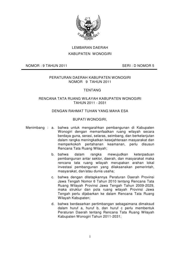 Rencana Tata Ruang Wilayah Kabupaten Wonogiri