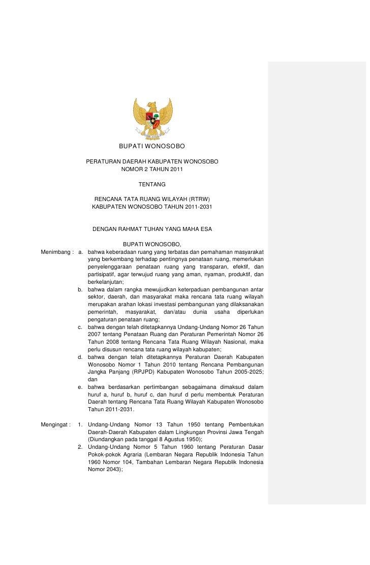 Rencana Tata Ruang Wilayah Kabupaten Wonosobo