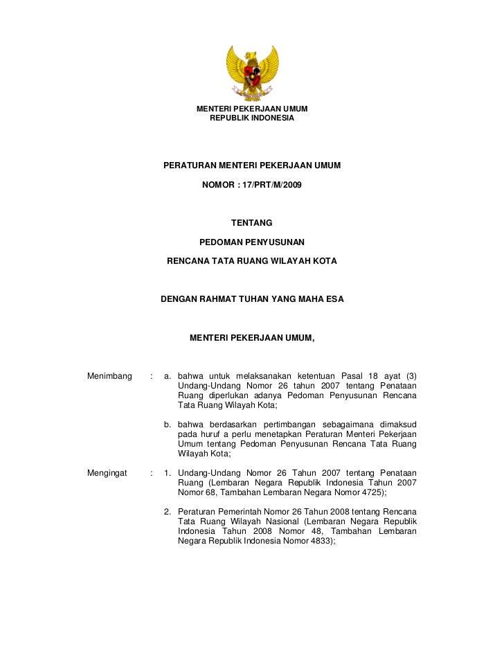 Pedoman Penyusunan Rencana Tata Ruang Wilayah (RTRW) Kota