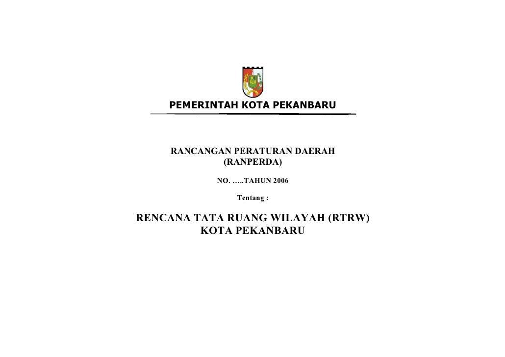 Rencana Tata Ruang Wilayah Kota Pekanbaru, Riau