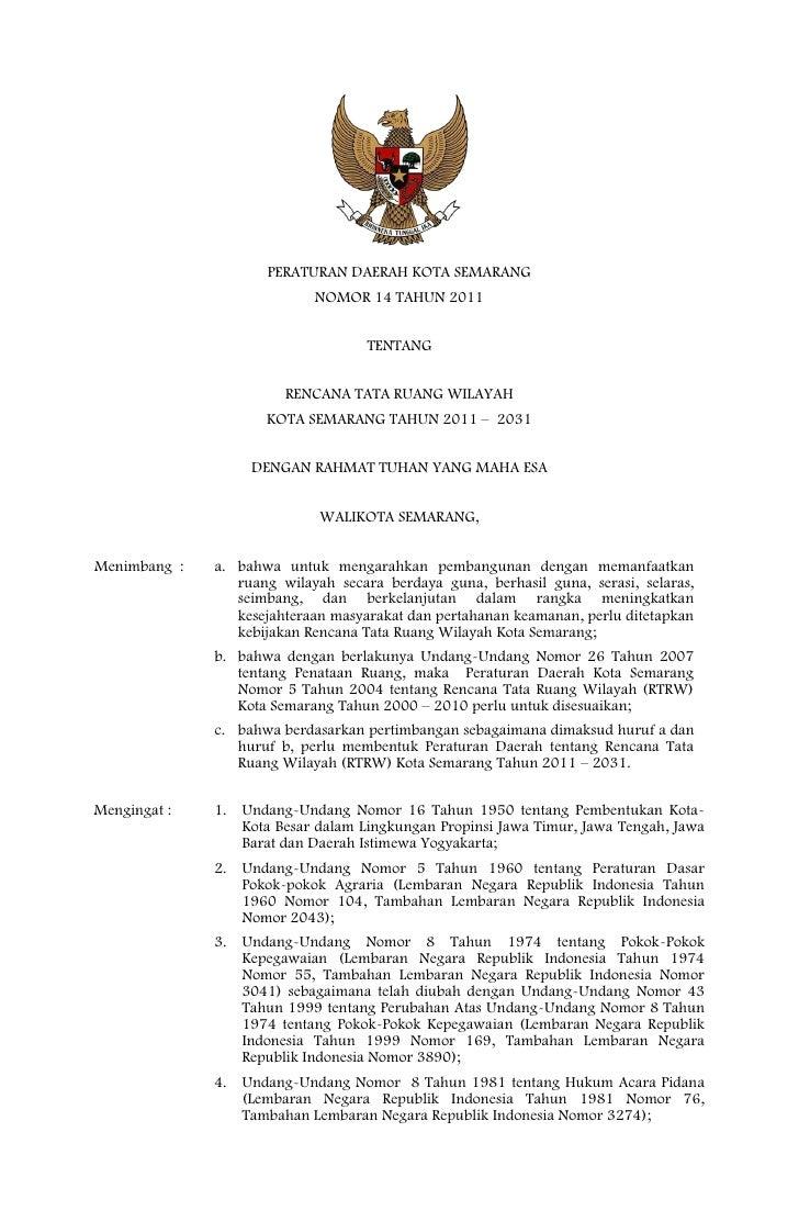 Rencana Tata Ruang Wilayah Kota Semarang
