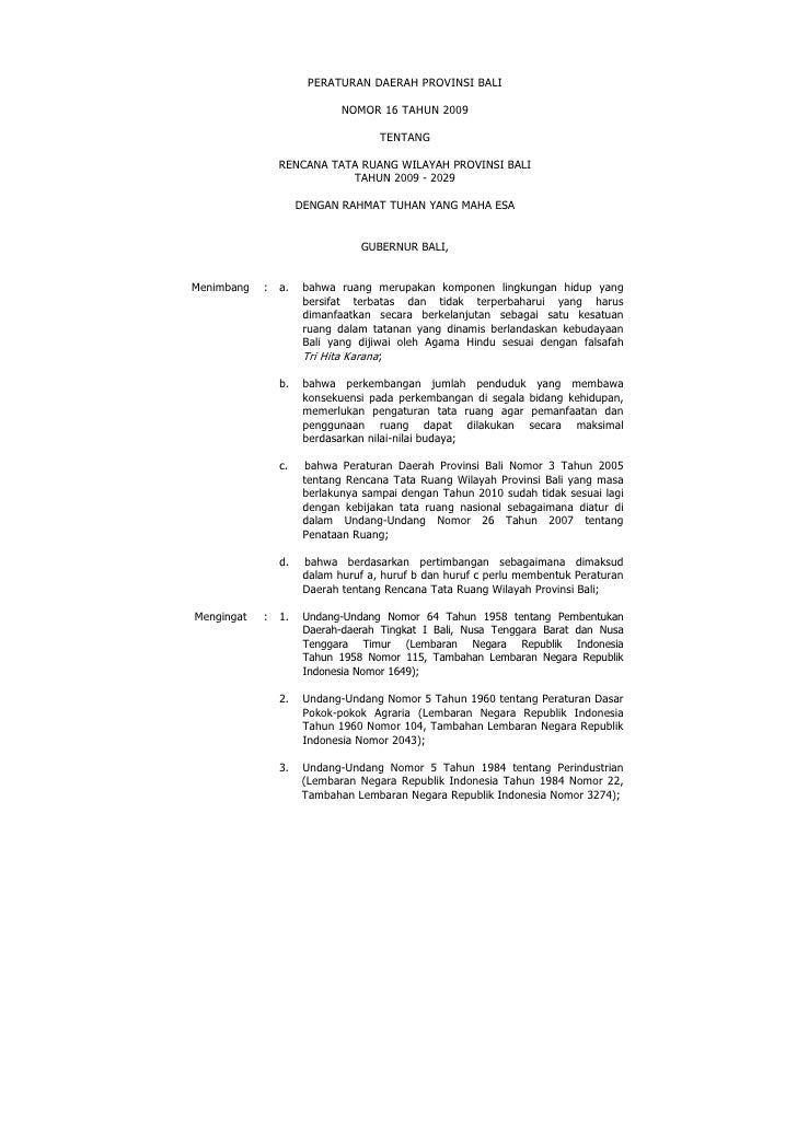 Rencana Tata Ruang Wilayah Provinsi Bali