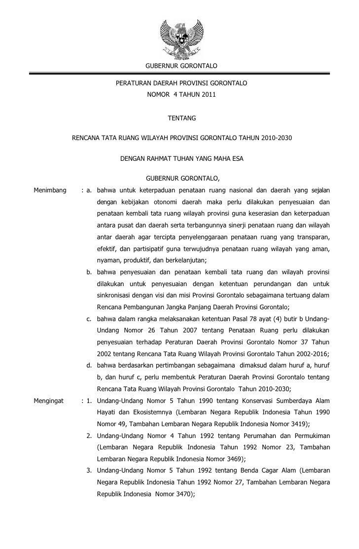 Rencana Tata Ruang Wilayah Provinsi Gorontalo
