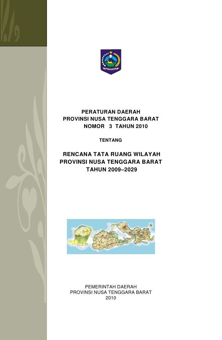 Rencana Tata Ruang Wilayah Provinsi Nusa Tenggara Barat (NTB)