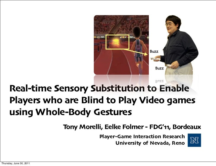 Real-time Sensory Substitution to Enable Players who are Blind to Play Video games using Whole-Body Gestures
