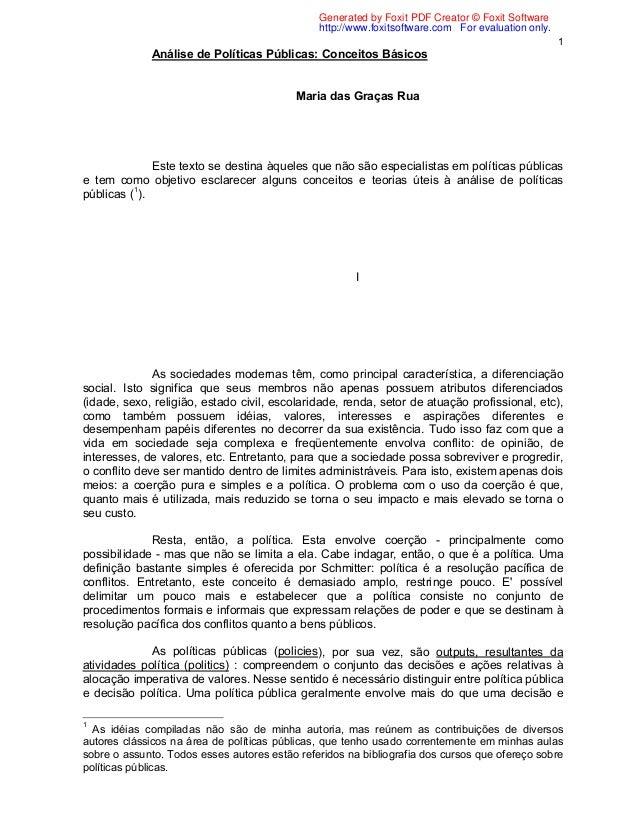 Artigo: Análise de Políticas Públicas: Conceitos Básicos - Maria das Graças Rua.