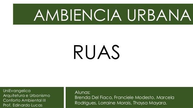 AMBIENCIA URBANA UniEvangelica Arquitetura e Urbanismo Conforto Ambiental III Prof. Edinardo Lucas Alunas: Brenda Del Fiac...