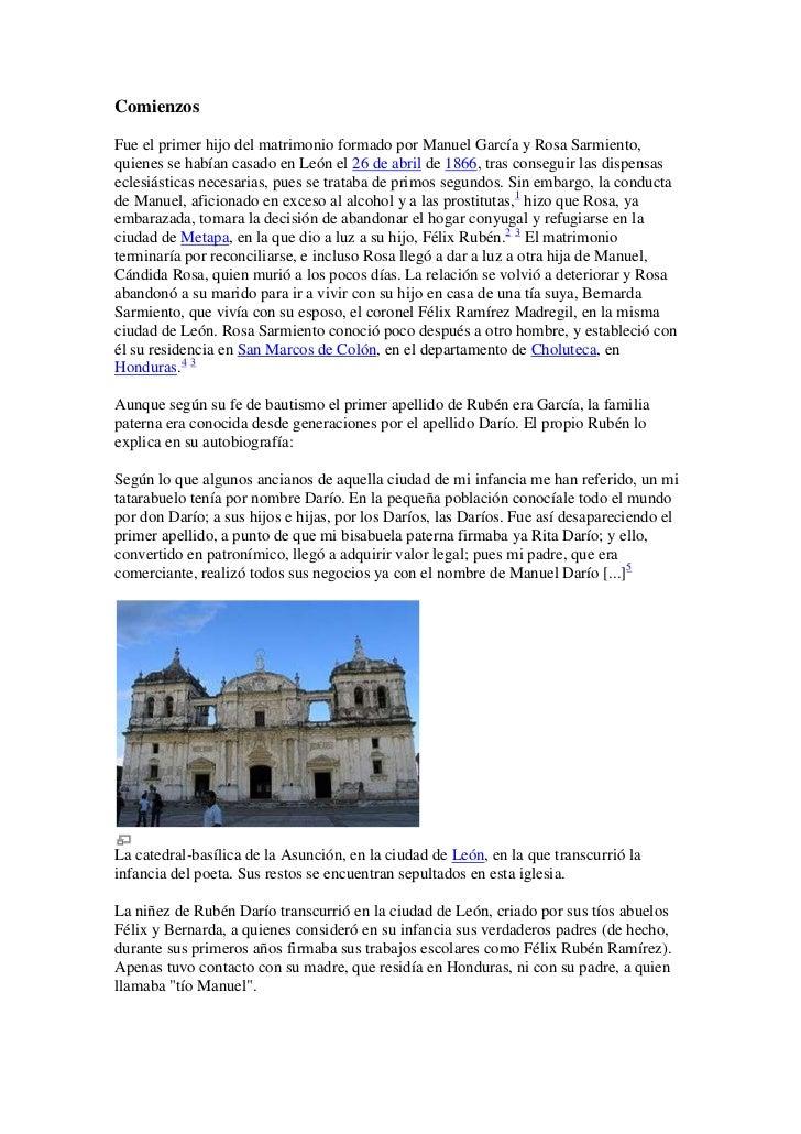 ComienzosFue el primer hijo del matrimonio formado por Manuel García y Rosa Sarmiento,quienes se habían casado en León el ...