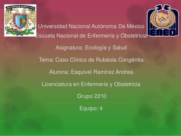Universidad Nacional Autónoma De MéxicoEscuela Nacional de Enfermería y Obstetricia        Asignatura: Ecología y Salud Te...