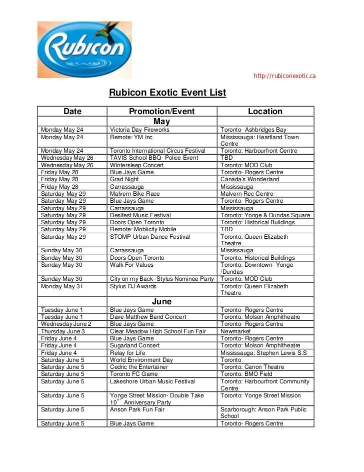 Rubicon Exotic Event List
