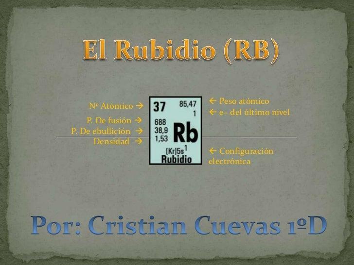 El Rubidio (RB)<br />    Nº Atómico <br /> Peso atómico<br /> e− del último nivel<br />             P. De fusión <br /...