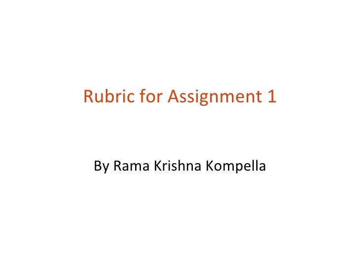 Rubric   assignment 1