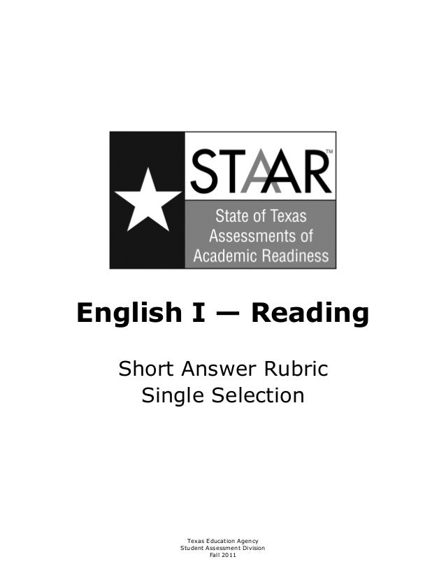 STAAR EOC Short Answer Single Selection Rubric from TEA