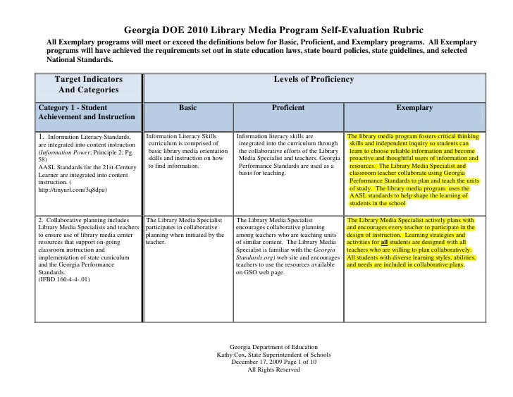 Georgia DOE 2010 Library Media Program Self-Evaluation Rubric   All Exemplary programs will meet or exceed the definitions...