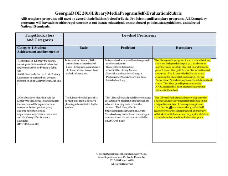Georgia DOE 2010 Library Media Program Self-Evaluation Rubric<br />All Exemplary programs will meet or exceed the definiti...