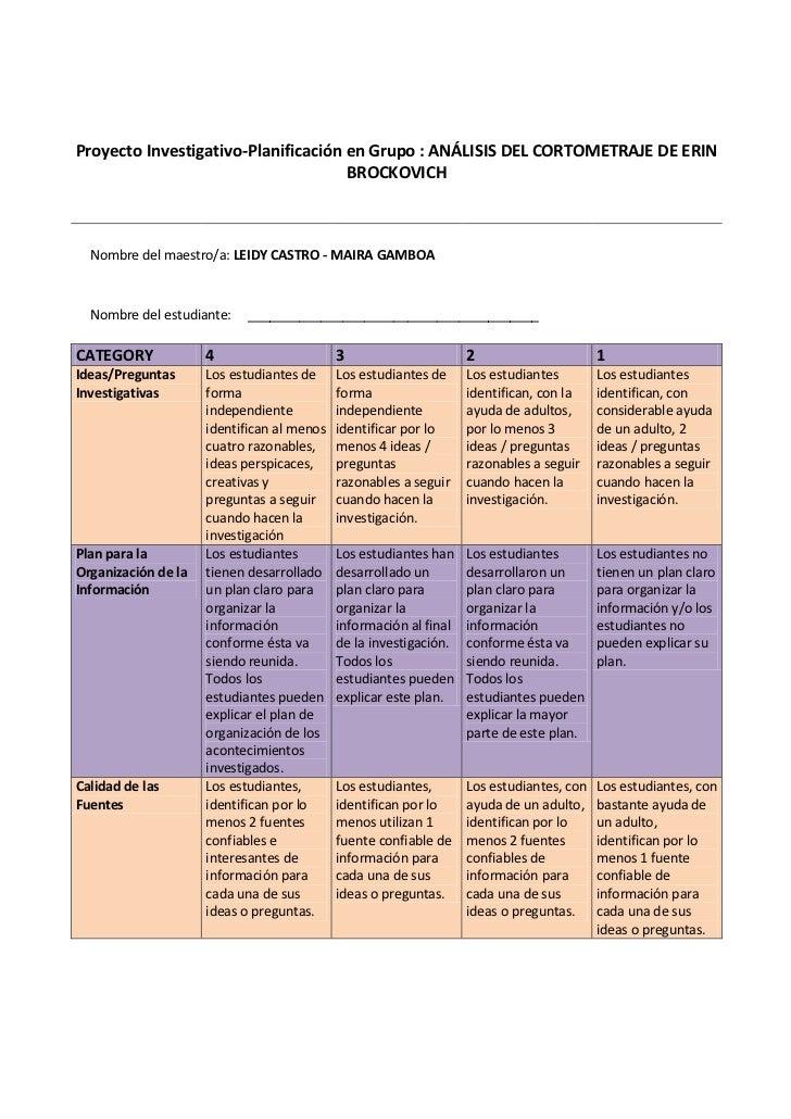 Proyecto Investigativo-Planificación en Grupo : ANÁLISIS DEL CORTOMETRAJE DE ERIN BROCKOVICHNombre del maestro/a: LEI...