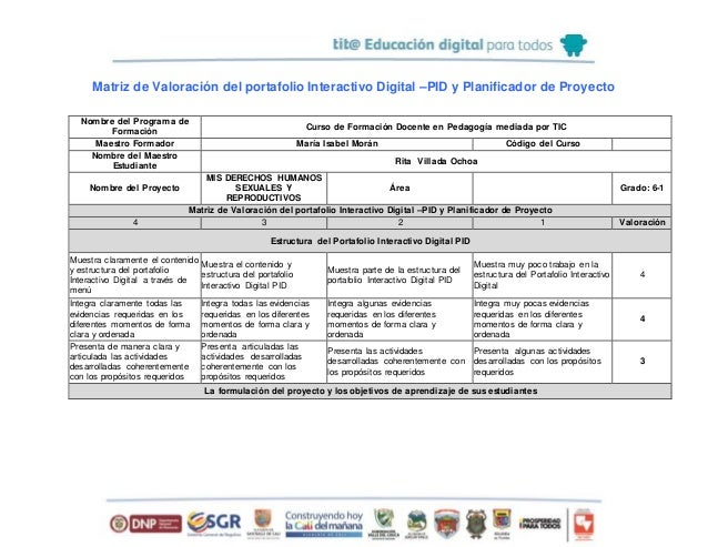 Matriz de Valoración del portafolio Interactivo Digital –PID y Planificador de Proyecto Nombre del Programa de Formación C...