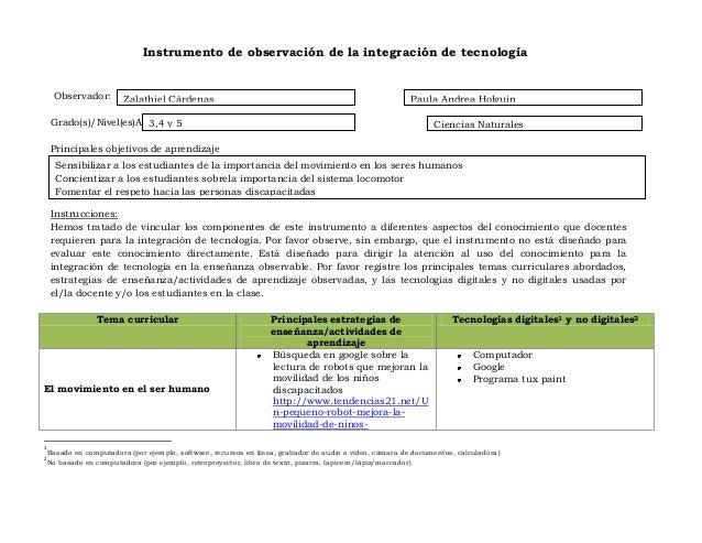 Instrumento de observación de la integración de tecnología Observador: Docente: Grado(s)/Nivel(es)Asignatura(s) Principale...