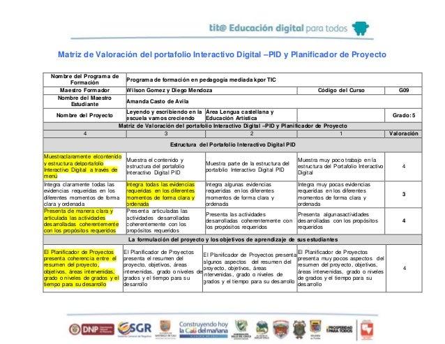 Matriz de Valoración del portafolio Interactivo Digital –PID y Planificador de Proyecto Nombre del Programa de Formación P...