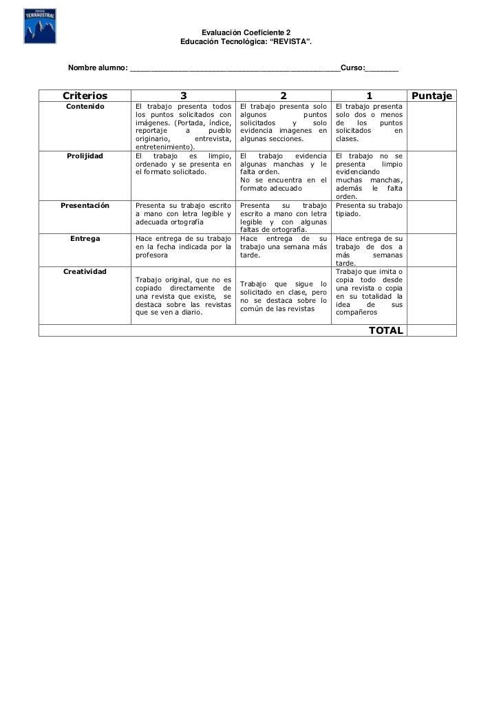 Rubrica Proyecto Revista Coef2 4 Basico