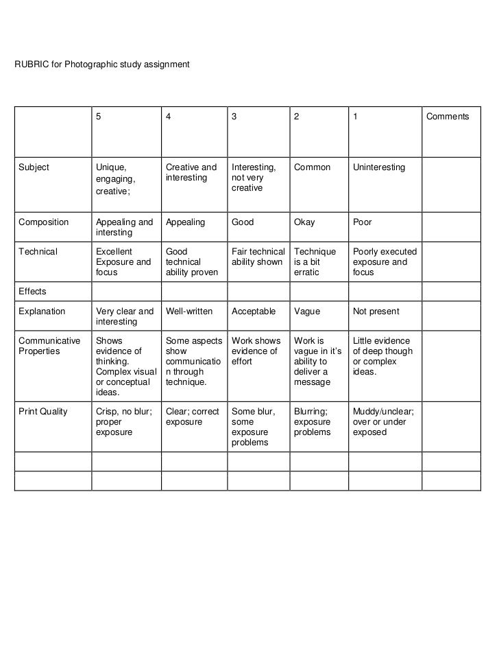 RUBRIC for Photographic study assignment<br />54321CommentsSubjectUnique, engaging, creative;Creative and interestingInter...