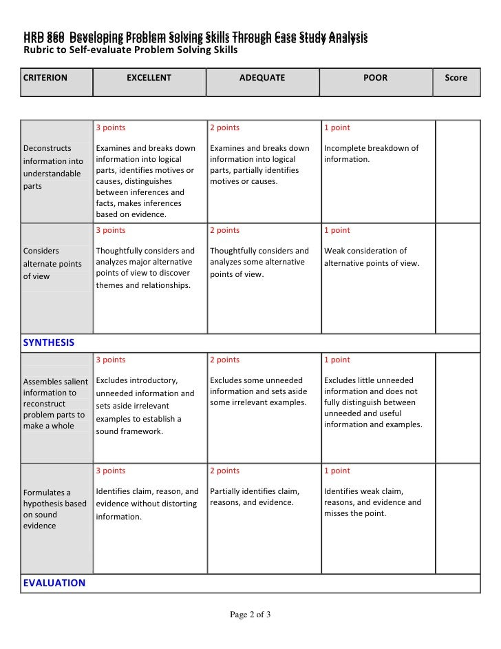Case study report rubric