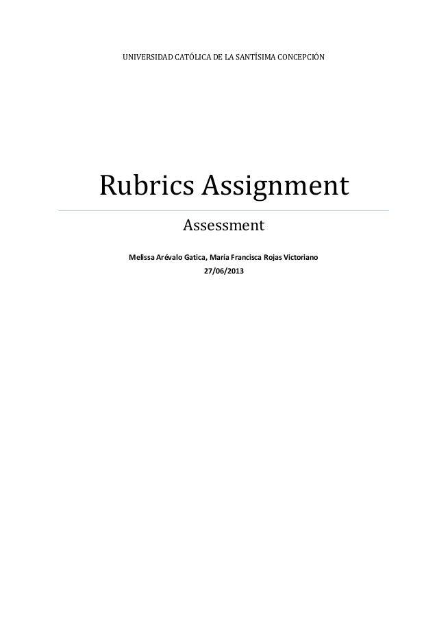 Rubrics assignment  melissa arevalo maría francisca rojas