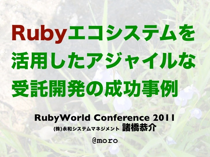 Ruby ecosystem applied to agile project