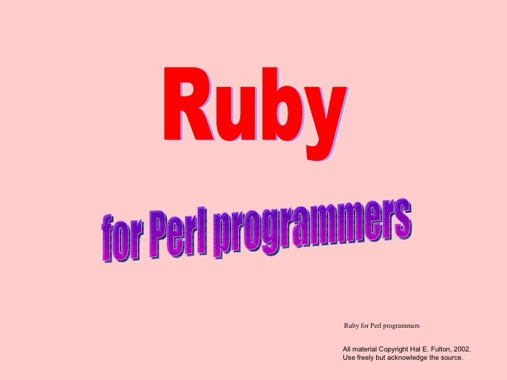 Ruby for Perl Programmers