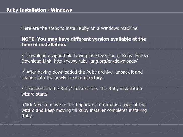 Ruby Installation